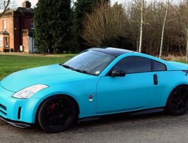 matte blue vinyl wrap car london