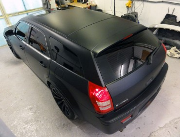 v8 car with tinted winsows